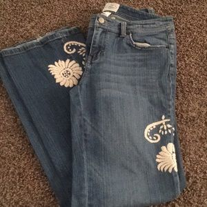 White House Black Market Embroidered Jeans